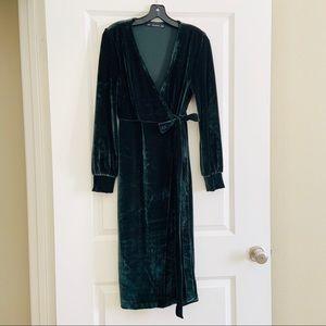 Zara Trafaluc Green Velvet Wrap Tie Dress XS